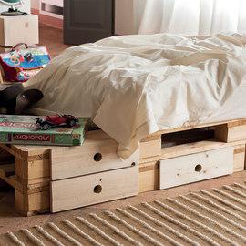Pallet singolo con cassetti legno L 120 x P 80 x H 14,5 cm grezzo