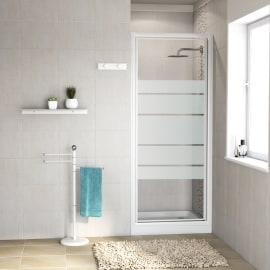 Porta doccia battente Nerea 77-80, H 185 cm cristallo 4 mm serigrafato/bianco lucido