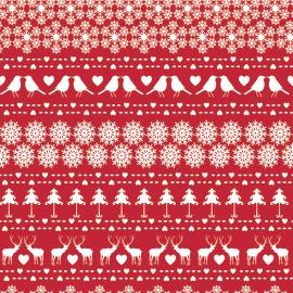 Tessuto al taglio Fiocchi di neve rosso 140 cm
