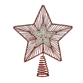 Puntale stella 5 punte bianco, rosso 25 x 30 x 8 cm