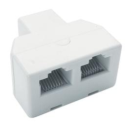 Adattatore spina con due prese plug RJ11 bianco