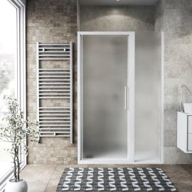 Doccia con porta battente lato fisso in linea Record 77 - 81 cm, H 195 cm vetro temperato 6 mm satinato/bianco opaco