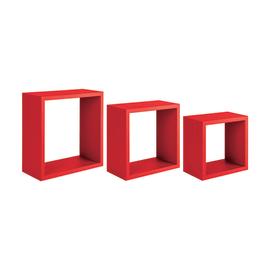 Set 3 cubi Spaceo rosso, sp 1,8 cm