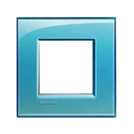 Placca 2 moduli BTicino Livinglight azzurro