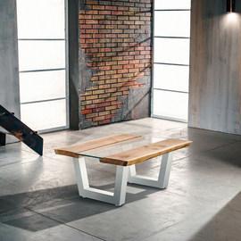 Tavolino Vertigo verniciato bianco legno e vetro L 100 x P 85 x H 40 cm grezzo