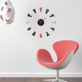 Sticker 3D Foam Clock red