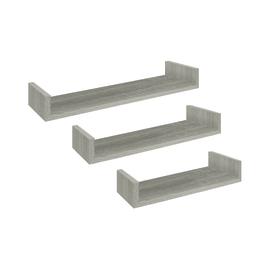 Set 3 mensole a U Spaceo rovere grigio, sp 2,2 cm