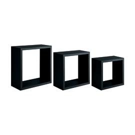 Set 3 cubi Spaceo nero, sp 1,2 cm