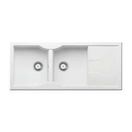 Lavello incasso Aeolia bianco L 116 x P  50 cm 2 vasche + gocciolatoio