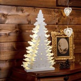 Albero legno bianco 20 minilucciole Led classica gialla H 35 cm