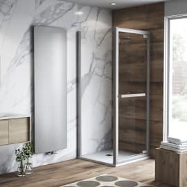 Doccia con porta battente e lato fisso Namara 85 - 90 x 67.5 - 69,5 cm, H 195 cm cristallo 8 mm trasparente/silver
