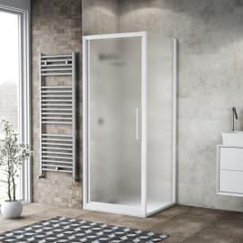 Porta doccia scorrevole Record 97-101 x 77-81, H 195 cm cristallo 6 mm satinato/bianco opaco