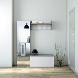 Baule bianco/cemento L 90 x P 45 x H 45 cm