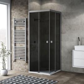 Box doccia scorrevole Neo 67-69 x 67-69, H 200 cm vetro temperato 6 mm fumè/silver