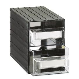 Cassettiera porta minuterie con 2 cassetti, colore nero/trasparente