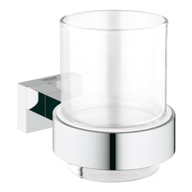 Porta bicchiere Essentials Cube con bicchiere Cromo grigio