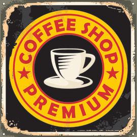 quadro su tela Coffee shop premium 30x30