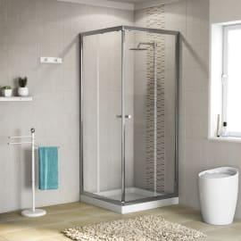Box doccia quadrato scorrevole Dado 80 x 79 cm, H 185 cm in alluminio e vetro, spessore 5 mm trasparente cromato