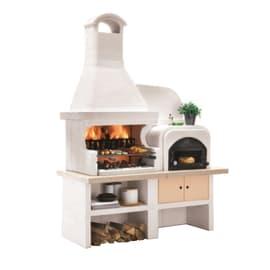 Barbecue in cemento PALAZZETTI Malibù + forno a Dx griglia 76 cm L 180 x H 252 cm