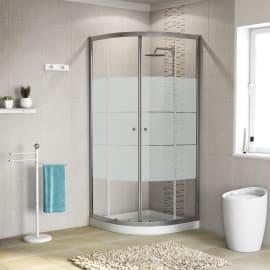 Box doccia stondato scorrevole Dado 79 x 79 cm, H 185 cm in alluminio e vetro, spessore 5 mm serigrafato cromato