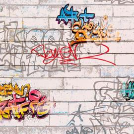 Carta da parati Graffiti grigio e argento