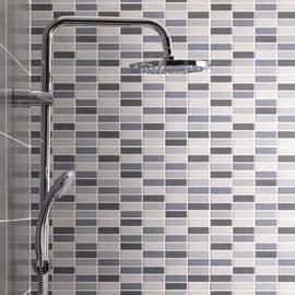 Piastrella Sirio Muretto Antracite L 20 x H 50 cm mix grigio