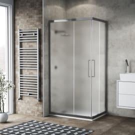 Box doccia scorrevole 70 x 90 cm, H 195 cm in vetro, spessore 6 mm spazzolato argento