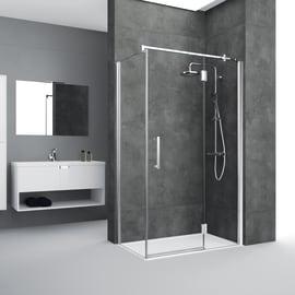 Box doccia angolare con porta a battente e lato fisso 70 x 120 cm, H 195 cm in vetro temprato, spessore 6 mm trasparente grigio