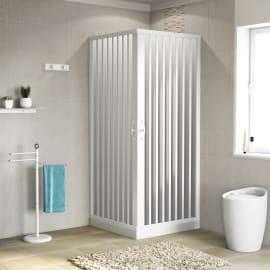 Box doccia quadrato 70 x 80 cm, H 185 cm in pvc, spessore 2 mm vetro di sicurezza serigrafato bianco