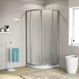 Box doccia scorrevole 90 x 90 cm, H 185 cm in alluminio e vetro, spessore 4 mm granigliato argento