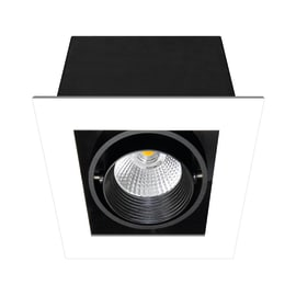 Faretto orientabile da incasso quadrato Chris in metallo, nero, LED integrato 750LM IP23 INSPIRE