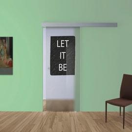 Porta scorrevole con binario esterno Let It Be in vetro Kit A L 88 x H 215 cm dx