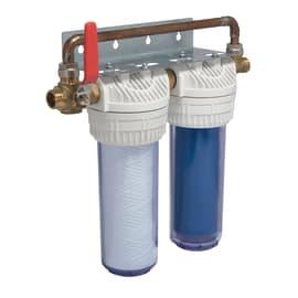 Filtro per trattamento acque composto da 2 cartucce da 10