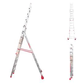Scala sfilo alluminio Faraone 7+8+8 gradini, per lavori fino a 4,5 m