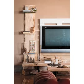 Scaffale a parete Bea con ripiani legno L 38 x P 20 x H 200 cm grezzo