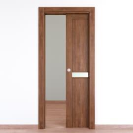 Porta da interno scorrevole Spyhole nut larice noce 80 x H 210 cm reversibile