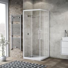 Box doccia scorrevole Record 67-69 x 70, H 195 cm vetro temperato 6 mm trasparente/silver lucido