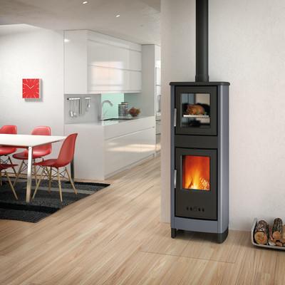 Stufa a legna con forno malika grigio prezzi e offerte online leroy merlin for Termostufe a legna con forno