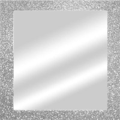 Specchio da parete quadrato glitterata argento 56 5 x 56 5 for Parete bianca con glitter argento
