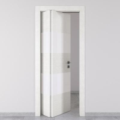 Porta da interno pieghevole asimmetrica melang bianco 80 x h 210 cm sx prezzi e offerte online - Porta pieghevole ...