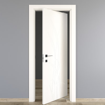 Porta da interno rototraslante blades white bianco 80 x h 210 cm dx prezzi e offerte online - Porta rototraslante prezzi ...