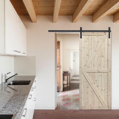 Porta scorrevole con binario esterno loft grezzo in legno for Ante scorrevoli per armadi a muro leroy merlin