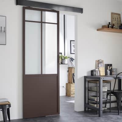 Porta da interno scorrevole Work marrone 86 x H 215 cm sx