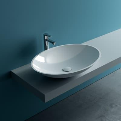 Lavabo da appoggio ovale Pegaso L 58 x P 42 x H  19 cm bianco