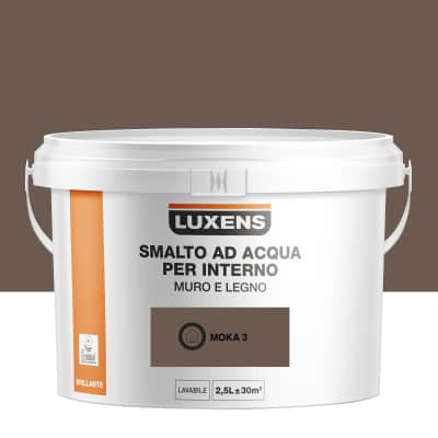 Smalto Luxens all'acqua Marrone Moka 3 brillante 2.5 L