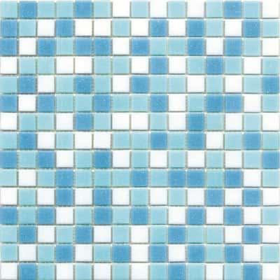 Mosaico classic 32 7 x 32 7 cm bianco azzurro prezzi e offerte online leroy merlin for Piastrelle mosaico leroy merlin