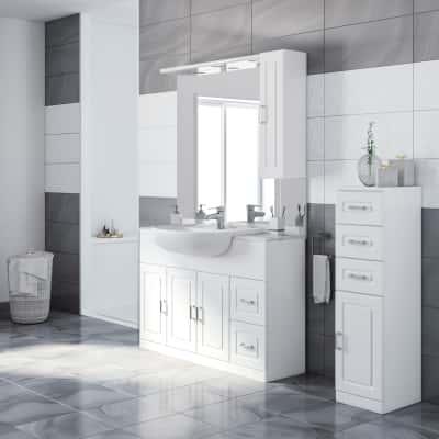 Mobile bagno paola bianco l 120 cm prezzi e offerte online for Pensili per bagno leroy merlin