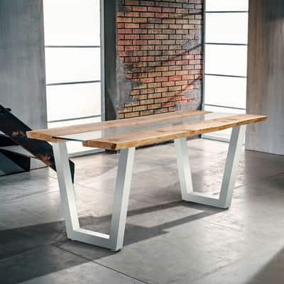 Tavolo Vertigo verniciato bianco legno e vetro L 200 x P 85 x H 80 ...