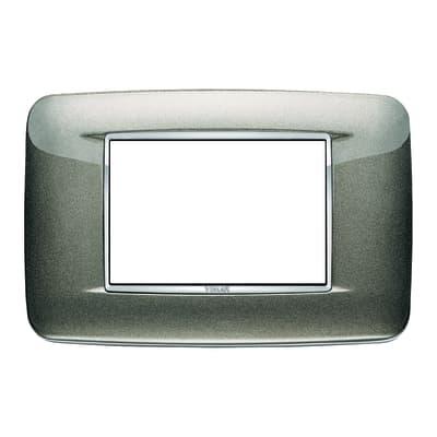 Placca 3 moduli Vimar Eikon Round titanio metal