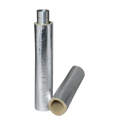 Coppella in lana di roccia con rivestimento in alluminio Coppella Isolspeed Fortlan Ø 130 mm x H 1000 mm, spessore 30 mm